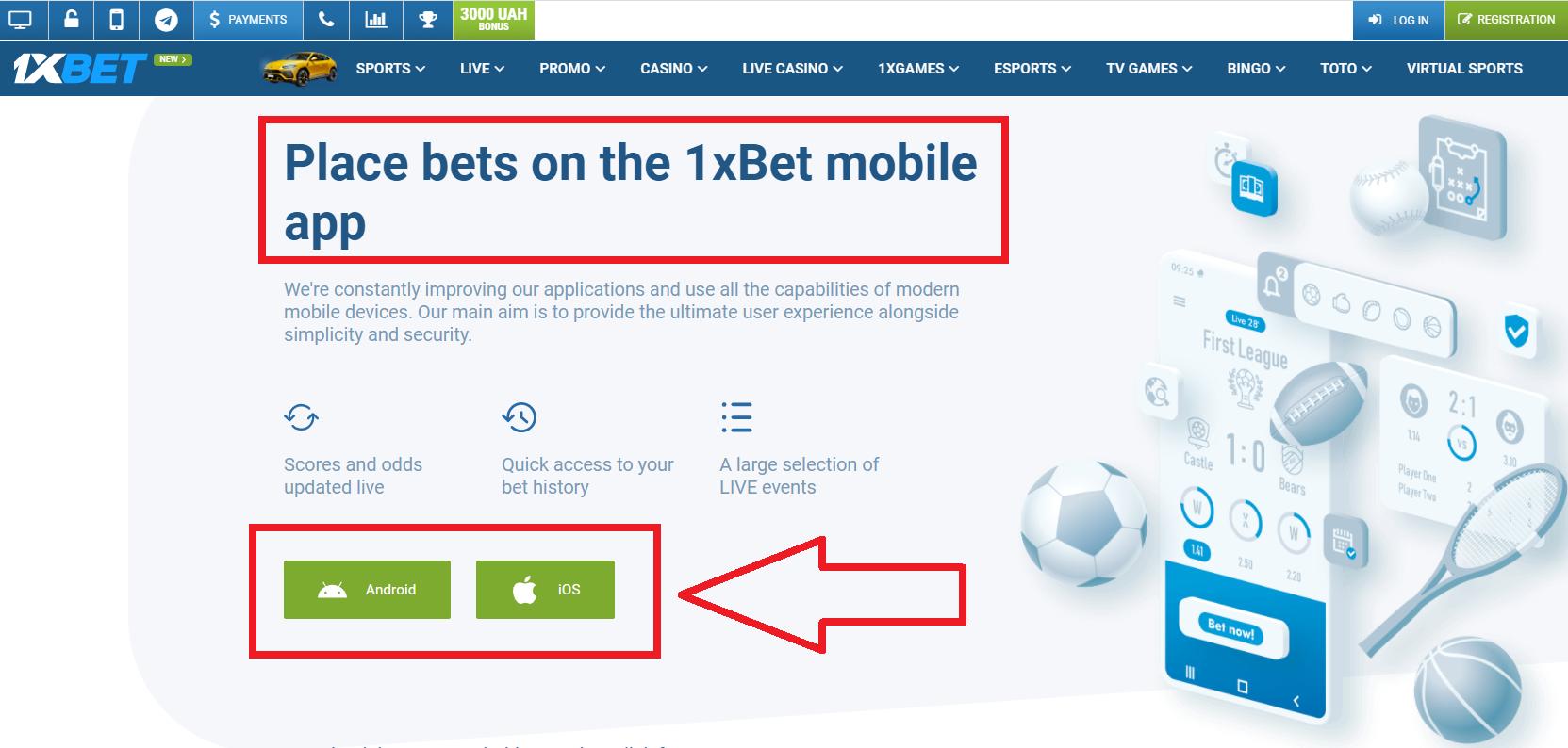 Fast 1xbet mobile registration